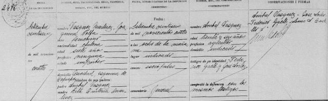 Defunción Joaquina Vásquez Martínez