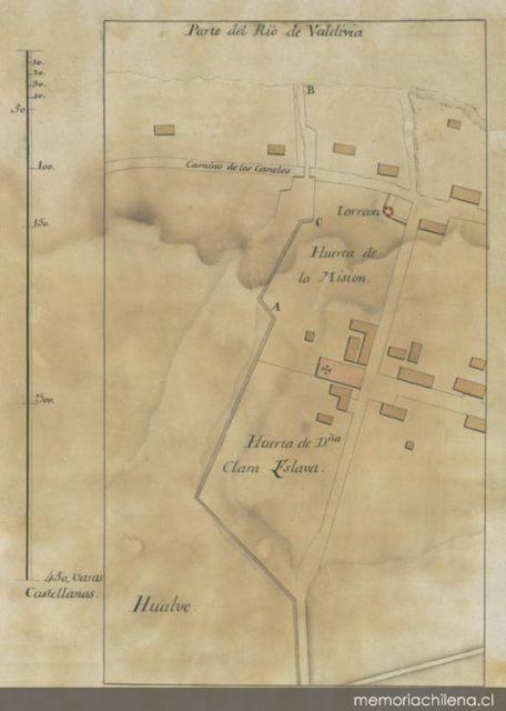 Sector de la Misión Franciscana de Valdivia 1802