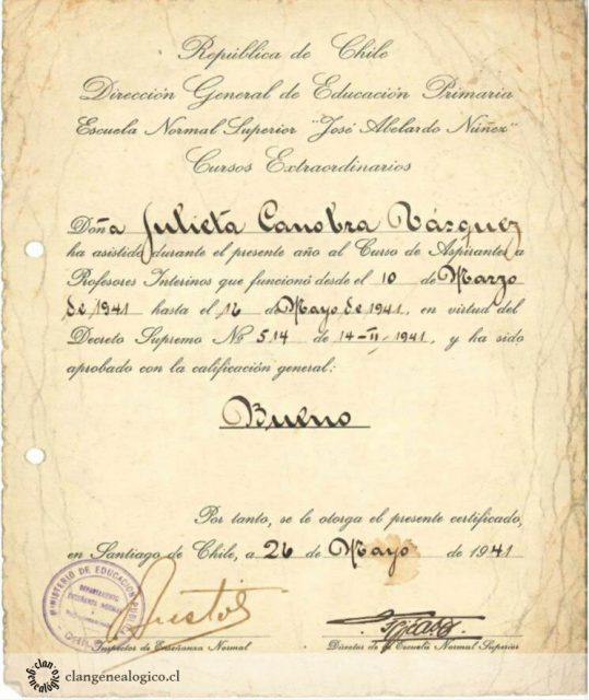 Certificado Escuela Normal de Julieta Canobra Vásquez, 1941.