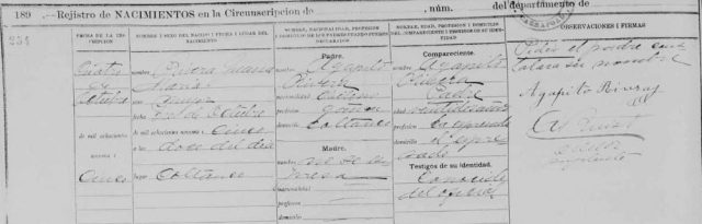 Registro de Nacimiento de Juana María Rivera