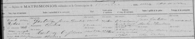 Acta de matrimonio de Orfelina Martínez con Juan Bautista Gastellu en Osorno