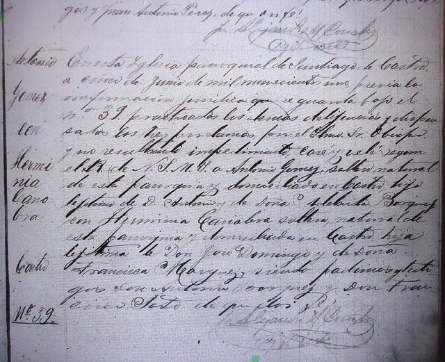 Matrimonio de Antonio Gómez con Herminia Canobra Márquez