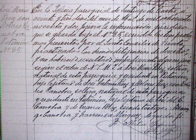 Matrimonio de José María Perez con Dolores Canobra