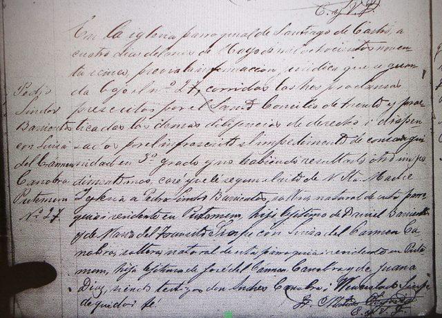 Matrimonio de Pedro Lindor Barrientos con Luisa Canobra