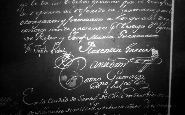 Firma Florentín García en Escribanos de Santiago 891