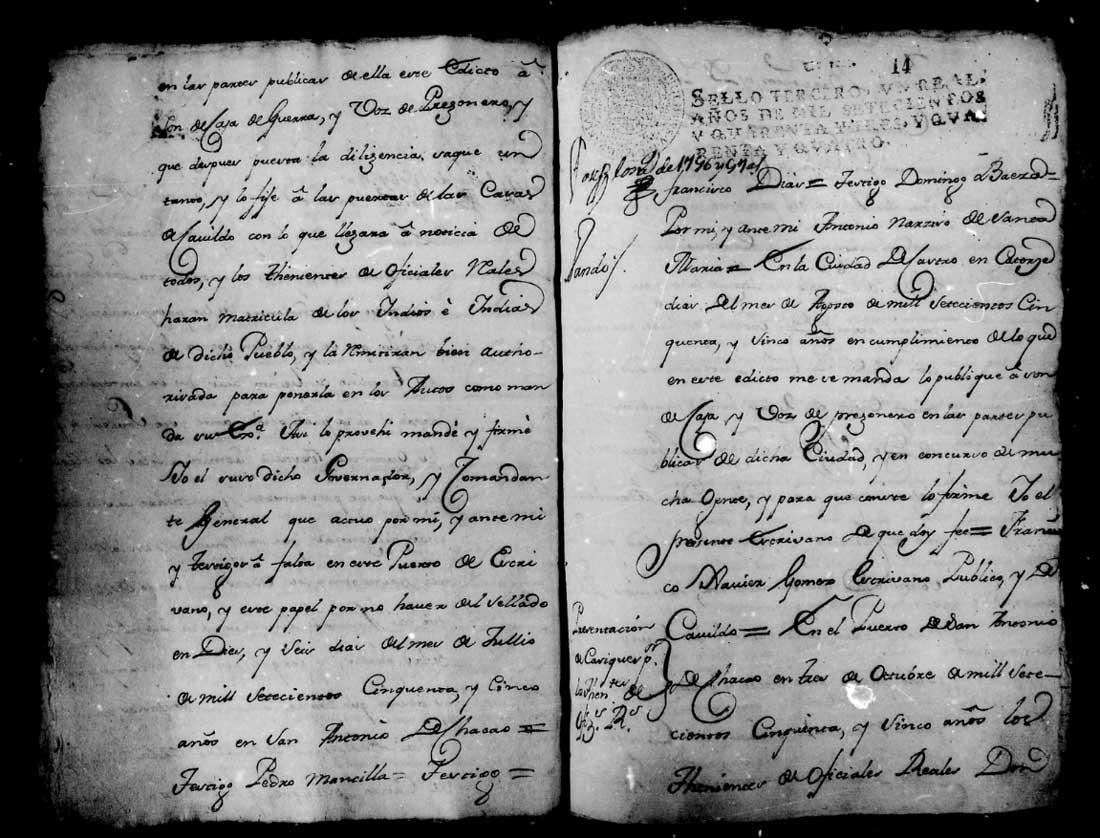 Página inicial de matrícula de Indios del pueblo de Lacuy, 1755